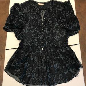 Rebecca Taylor Silk Blend Leopard Print Tunic
